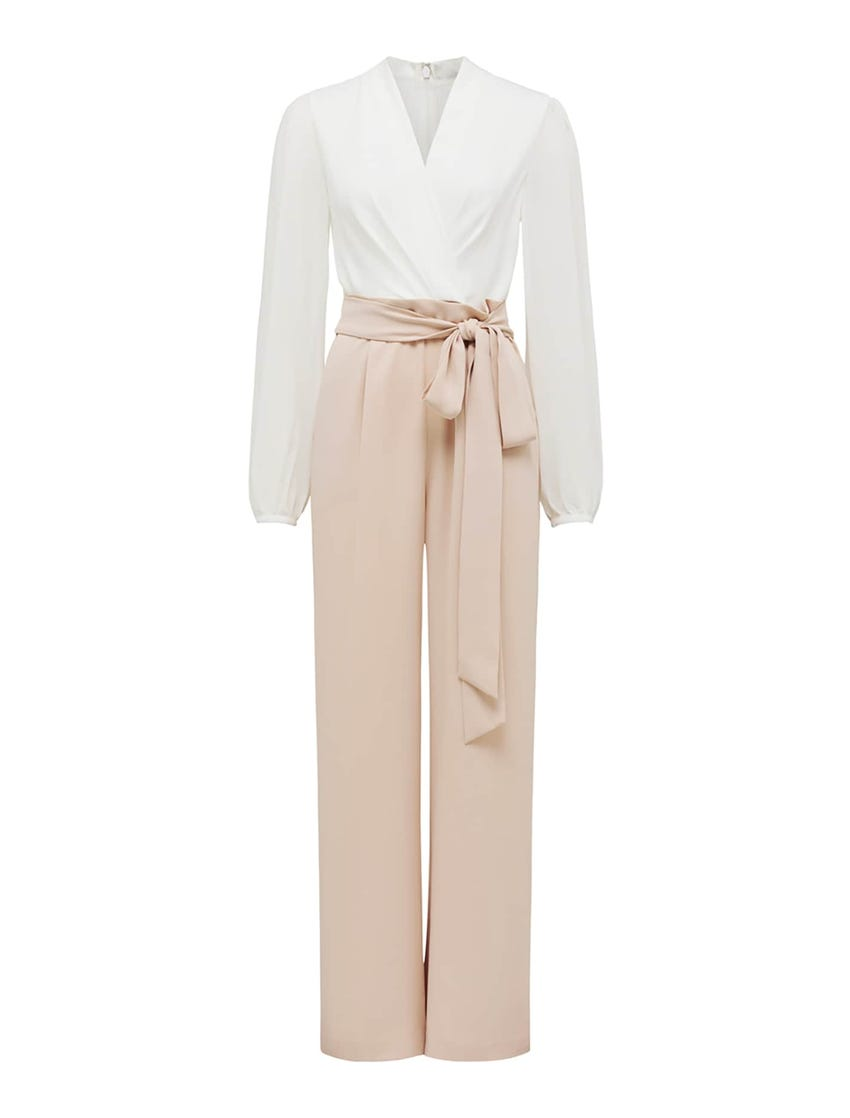 Agatha Wrap Sheer Sleeve Jumpsuit