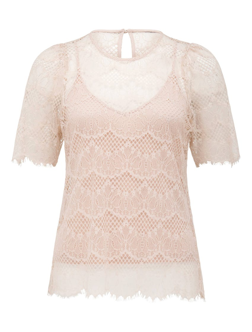 Alicia Puff-Sleeve Lace Top