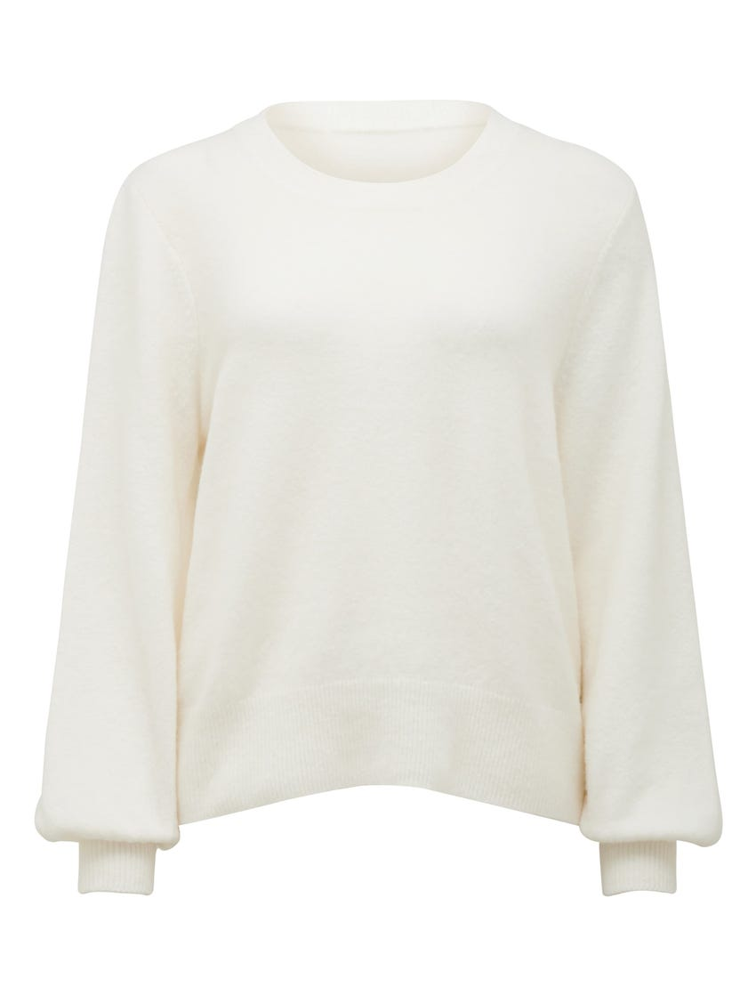 Elissa Blouson-Sleeve Wool Sweater