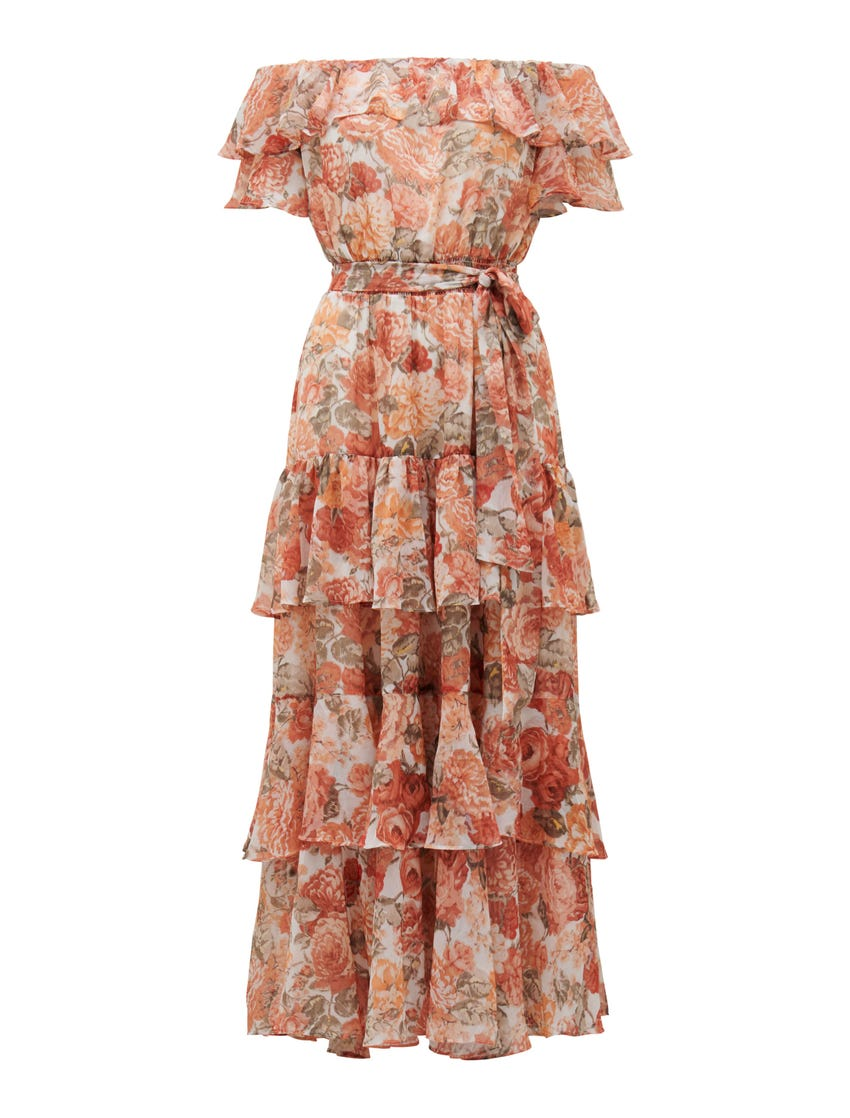 Becca Bardot Ruffle Maxi Dress