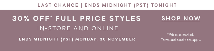 Cyber Monday - 30% off in full price styles
