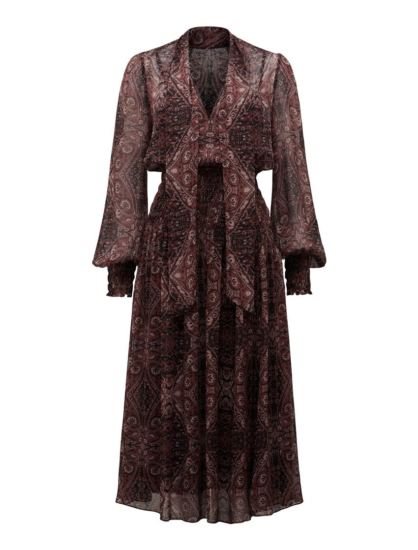 Carter Tie-Neck Midi Dress