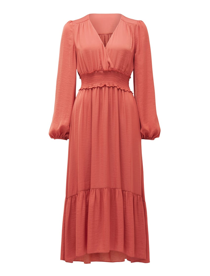 Eloise Long-Sleeve Tiered Midi Dress