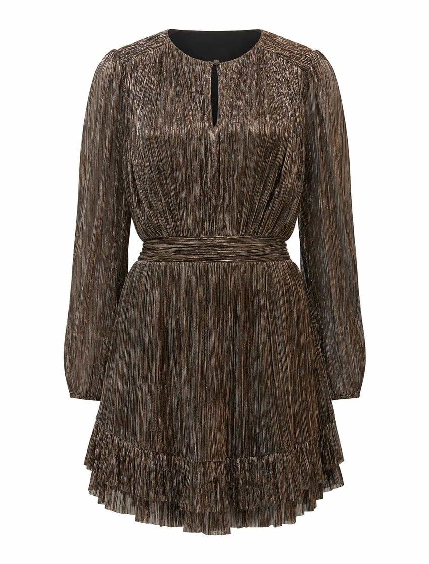 Goldie Long Sleeve Plisse Mini Dress