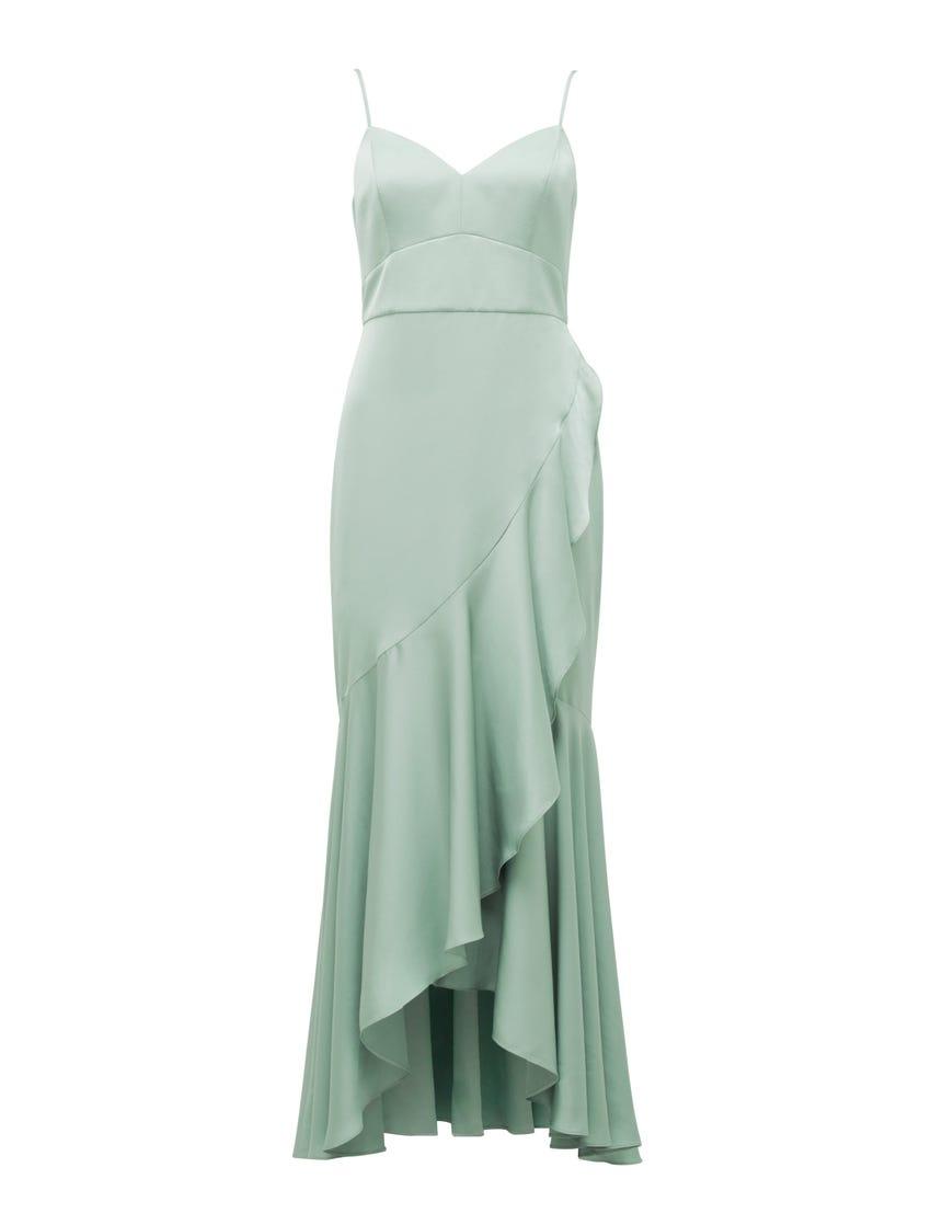 Hazel Wrap Frill Midi Dress