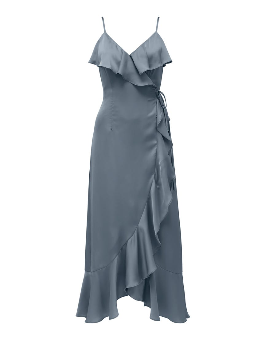 Ivana Wrap Frill Midi Dress