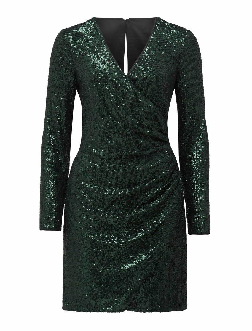 Jessica Long-Sleeve Sequin Dress