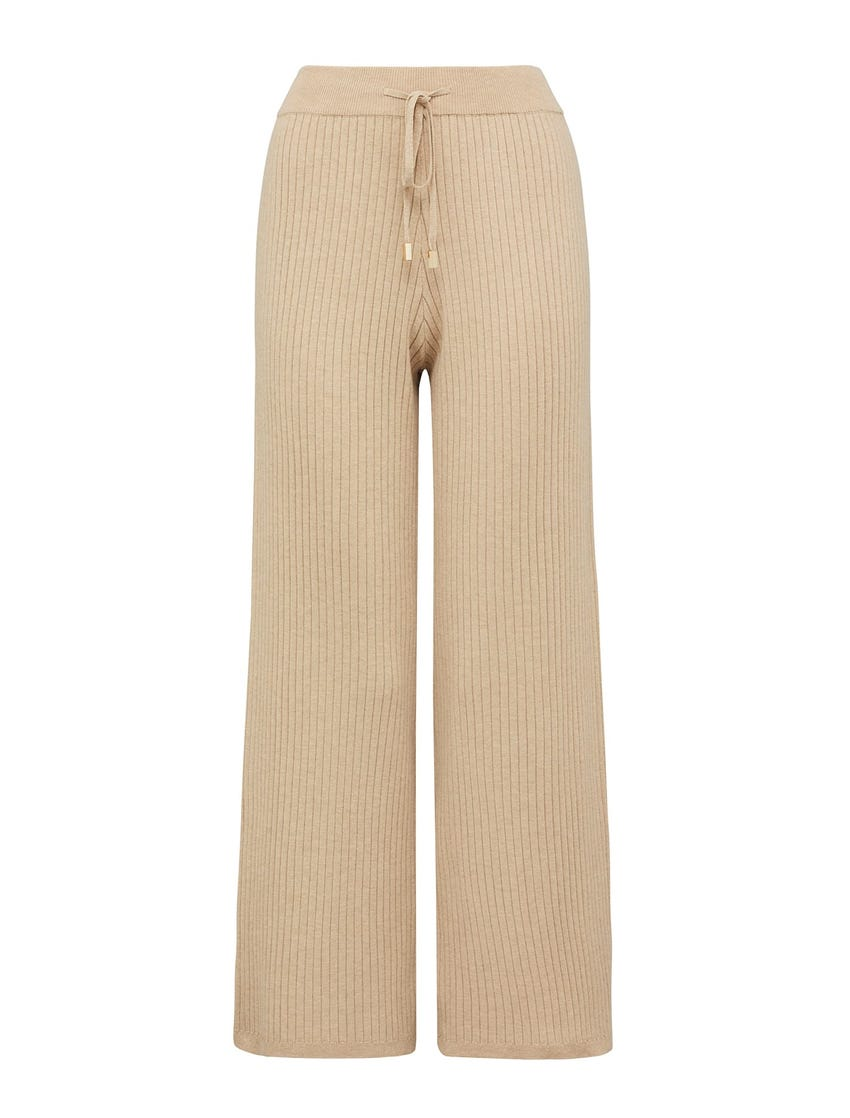 Lara Wide-Leg Rib Knit Pants