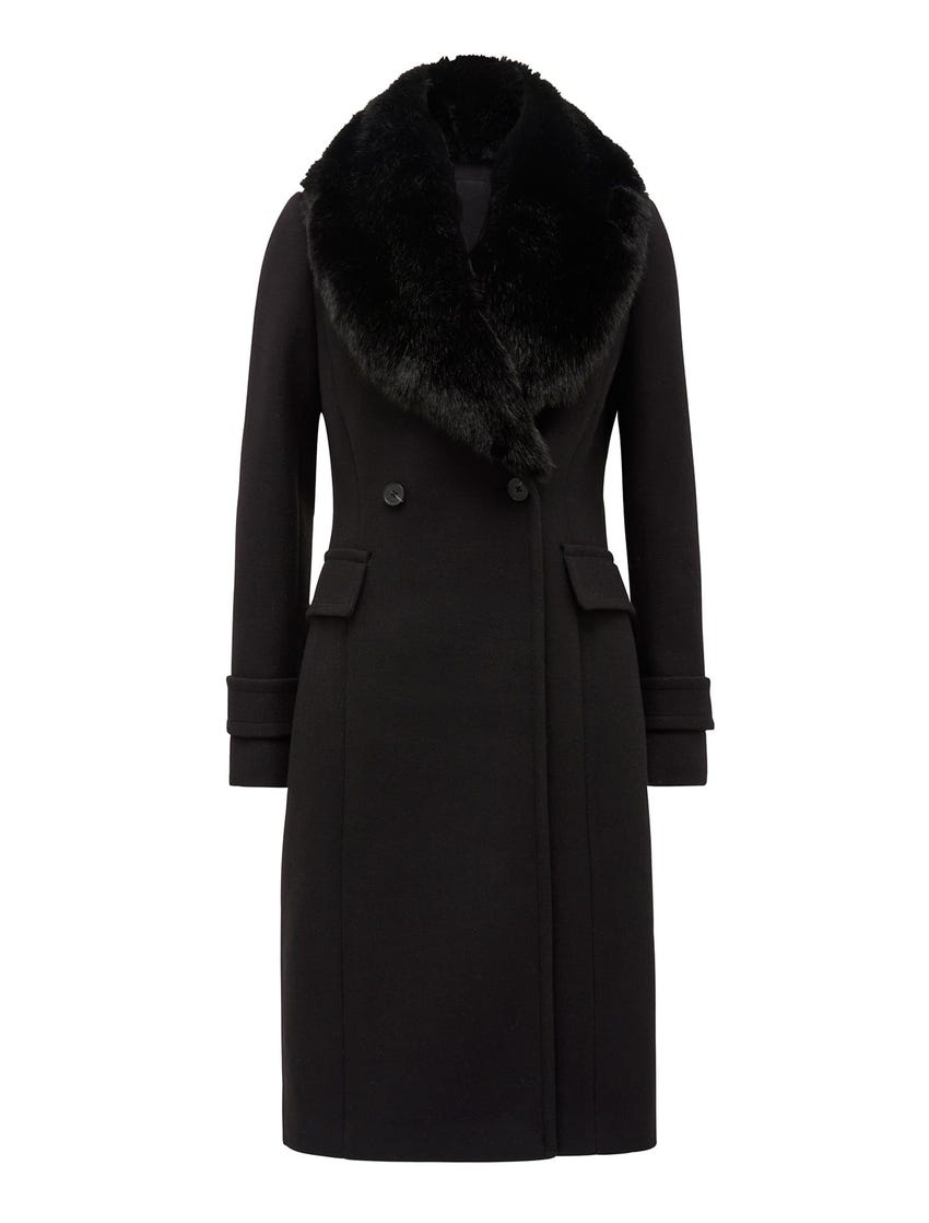 Lucy Fur-Collar Crombie Coat
