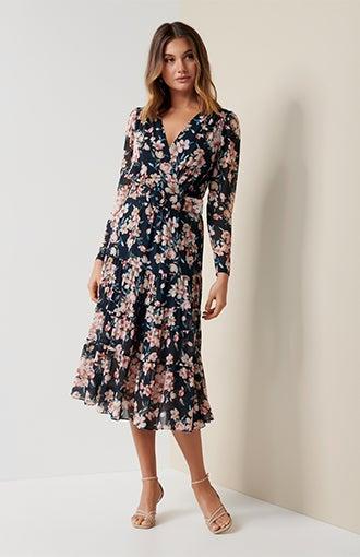 Jennifer Long-Sleeve Tiered Midi Dress