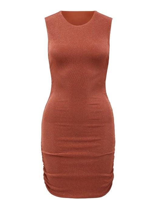Beatrix Ruched Glitter Mini Dress