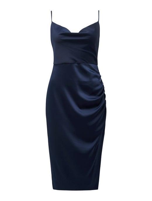 Laura Satin Cowl-Neck Ruched Midi Dress