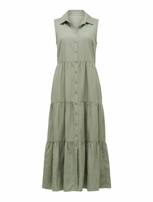 Megan Sleeveless Shirt Maxi Dress